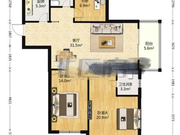 一线江景房 东边套199平精装3房送2个车位