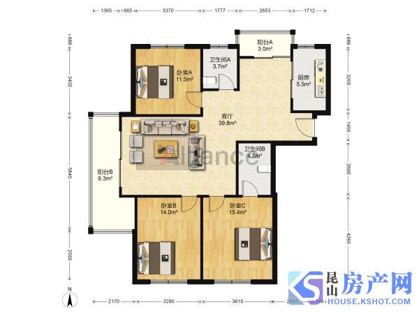 时代文化家园 3室2厅1卫 满五唯一 学区好房 精装修 急售