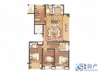 城西地王万象汇商圈时代悦庭大四房户型图如下